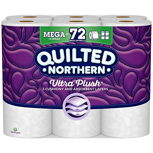 Quilted Northern Ultra Plush® Toilet Paper, 18 Mega Rolls, 18 = 72 Regular Rolls, 3 Ply White Bath Tissue (What's The Best Toilet Paper)