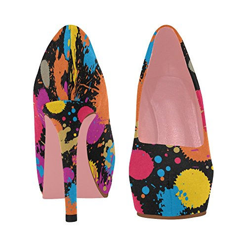 InterestPrint Pumps Wedge prin Size Stripe Violet 5 Flowers 11 Womens Colorful Pattern Shoes high Ethnic Color10 Heel rOr47