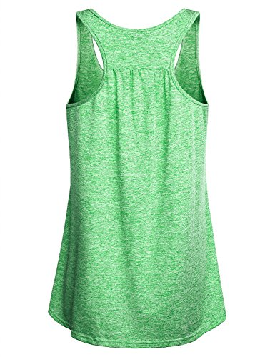 Miusey Gym Clothes for Women Ladies Sleeveless Exercise Athletic Swing Activity Crew Neck Basic Comfortable Lightweight Workout Racerback Tank Tops Green M by Miusey (Image #1)
