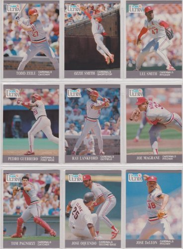 St Louis Cardinals 1991 Fleer Ultra Baseball Team Set (Ozzie Smith) (Todd Zeile) (Lee Smith) (Pedro Guerrero) (Ray Lankford) (Joe Magrane) (Tom Pagnozzi) (Jose Oquendo)