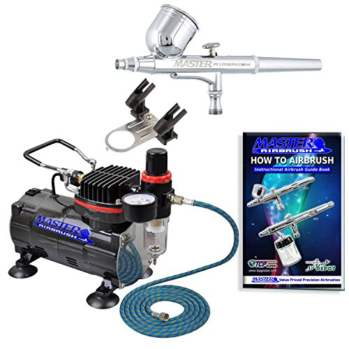 Master Airbrush Multi-purpose Gravity Feed Dual-action Airbrush Kit with 6 Foot Hose and a Powerful 1/5hp Single Piston Quiet Air Compressor ()