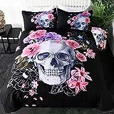 Purple and Black Duvet Cover Set Sleepwish Poppy Rose Skull Bedding Set 3D Floral Skull Printed Duvet Cover 3 Pieces Black Purple Skeleton Bedspreads (Queen)