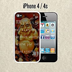 iPhone Case Buddha Love Inspiration Quote for iPhone 4 /4s Rubber White