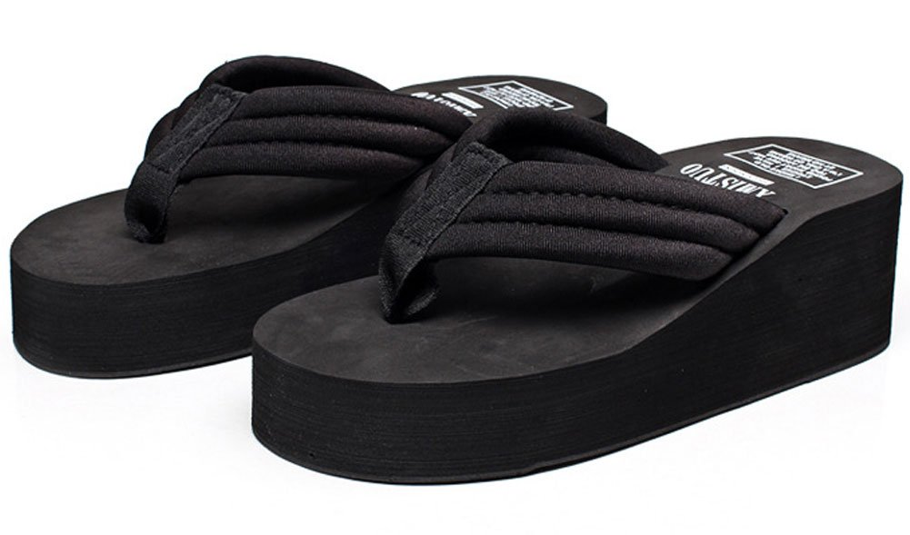 Women's Summer Fashion Creative High Heel Flip Flops Black US 8-9