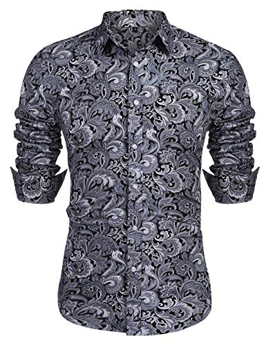 URRU Men's Floral Dress Shirt Long Sleeve Casual Paisley Printed Button Down Shirt Grey L - Mens Print Western Shirt