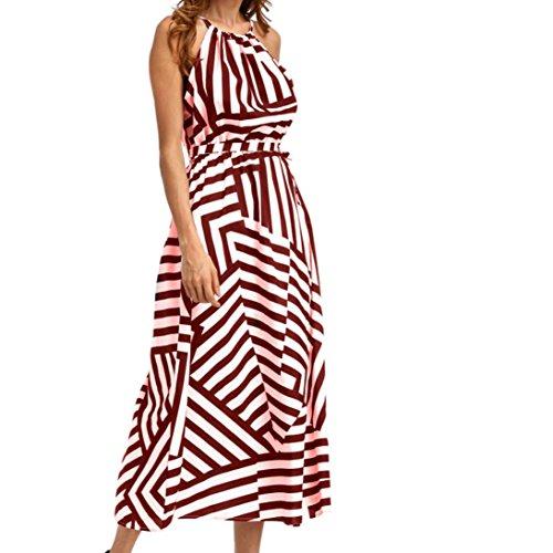 HITRAS Women Sexy Summer Boho Maxi Long Evening Party Beach Dress Sundress (XL, Wine Red)
