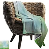 BelleAckerman Throw Blankets Fleece Blanket,Flower,Fairy Spring Blooms on an Abstract Background Pattern with Digital Bursts Ovary,Green Blue,300GSM, Super Soft and Warm, Durable 60'x70'