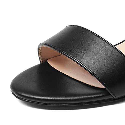 Sandals ZCJB Summer Female Thick Heels High Heels Word Buckle Middle Heel Shoes (Color : Beige 7.5cm, Size : 37) Black 3.5cm