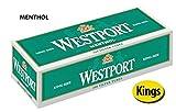 Westport Menthol King Size Filtered Cigarette Tubes (20 Cartons)