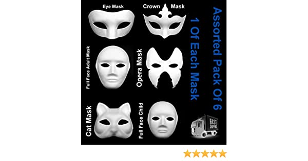 Variados Pack De 6 Máscaras Blanco Ojos Cat ópera Fancy Dress Masquerade Hasta Pintura (1 x Cara Completa Adulto, 1 x Cara Completa Infantil, 1 x Antifaz, 1 x Máscara De Ópera,