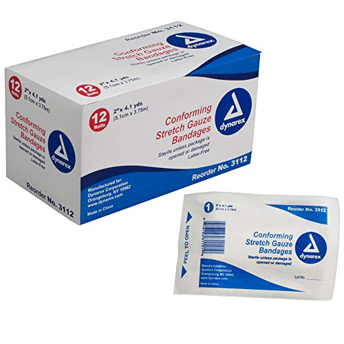 (Dynarex Conform Stretch Gauze Bandages, Sterile 2 Inches by 4.1 Yards, 12 Rolls each)