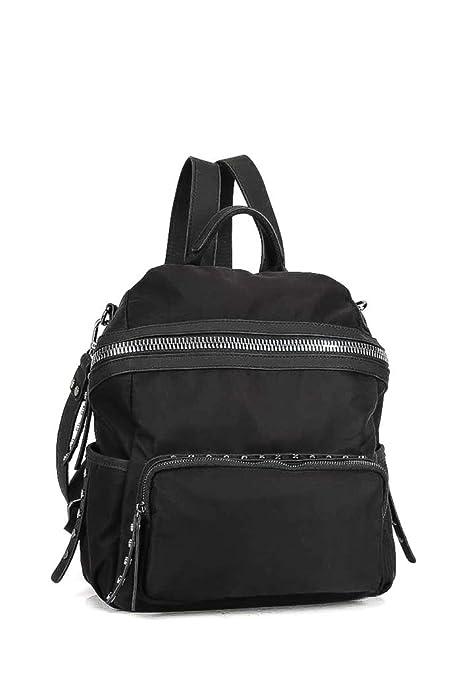Angkorly - Borse Mochilas bandolera Tote bag Tachonado Fleco Flexible Sporty chic estudiante mujer elegante de de moda idea de regalo BV18280 Noir: ...