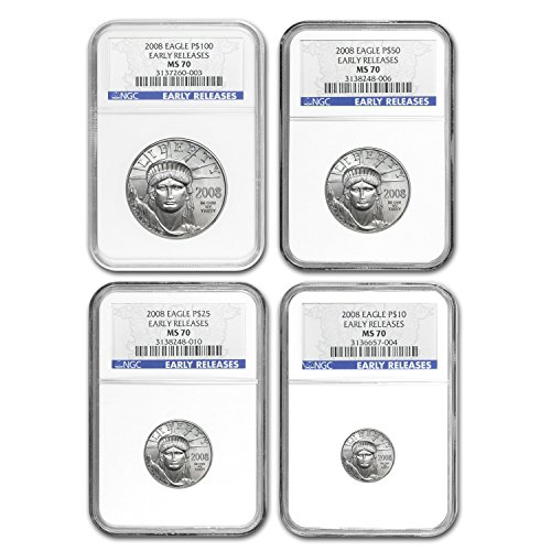 - 2008 4-Coin Platinum American Eagle Set MS-70 NGC (ER) MS-70