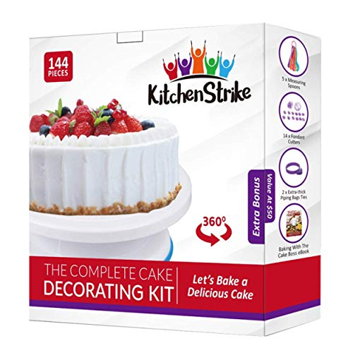 Kitchen Strike Cake Decorating Kit - The Complete 144 Pieces Set With Extra Bonus Accessories Of Fondant Tools, Spoons, Piping Bag Ties and Book - Smooth Spinner Turntable With Non-slip Silicone Base]()