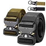 AIZESI 2 Piece Hunting Safety Belts Tactical Rigger Belt, Heavy Duty Belt Tactical Combat Police Utility Belt, Heavy Duty Metal Buckle Belt, for Worker,Police,Firefighter,Soldiers(Black + Khaki)