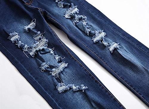 Semplice Pantaloni Lanceyy Di Stretti Stile Stretch Uomo Blu Dritti Jeans Da Vita Media A Strappati gwwYrnxqH