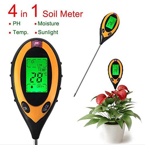 MileMelo 4 in 1 Soil Measuring Instrument - Light Tester Soil Moisture Meter Soil Thermometer Soil PH (Measuring Soil Moisture)