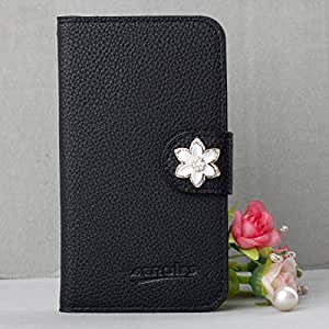 Extreme Deluxe Bling Diamond Slot Card Leather Case Cover For Samsung Galaxy S2 II T989 T-mobile Phone (Small_White_Flower)