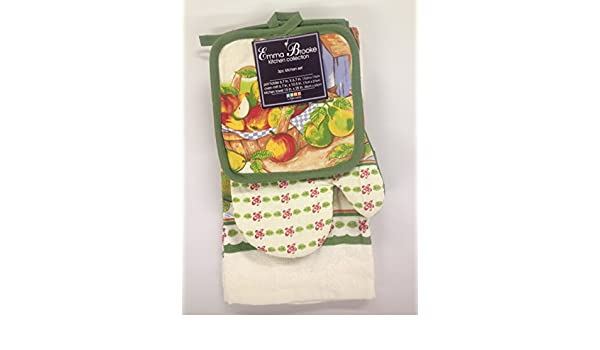 Amazon.com: Emma Brooke 6 Piece Kitchen Dish Towel, Pot Holder and Oven Mitt Set, Fruit Basket, Green: Home & Kitchen