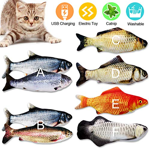 CHLEBEM Cat Toys for Indoor Cats Catnip Toys Kitten Toys Floppy Fish Interactive Cat Toy Cat Nip Flopping Teething…