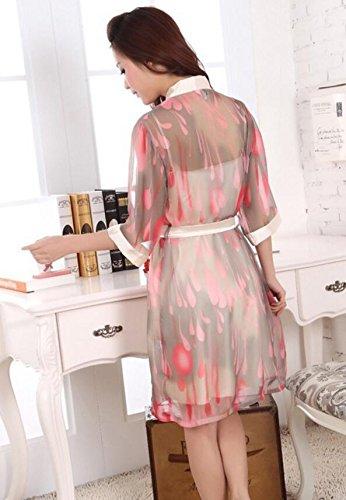 Wanyne -dressing Robes Robes Robe Avec Imprimé 2pcs Robe De Sangle Ladies Transparent Chemise De Nuit De Pansements Fixés Avec Une Robe De Sangle (couleur: Rose, Taille: Xl) Rose