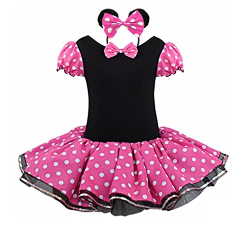 [Rush Dance Happy Birthday Girl 2 Pcs Mickey Tutu Dress Pettiskirt & Headband Set (3T, Hot Pink)] (Third Leg Costume)