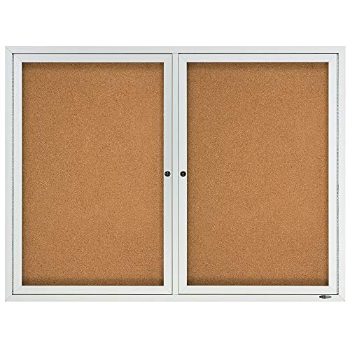 Quartet Cork Board, 2 Doors, Bulletin Board, Enclosed, 4' x 3', Outdoor, Corkboard, Aluminum Frame (2124) 2 Door Presentation Board
