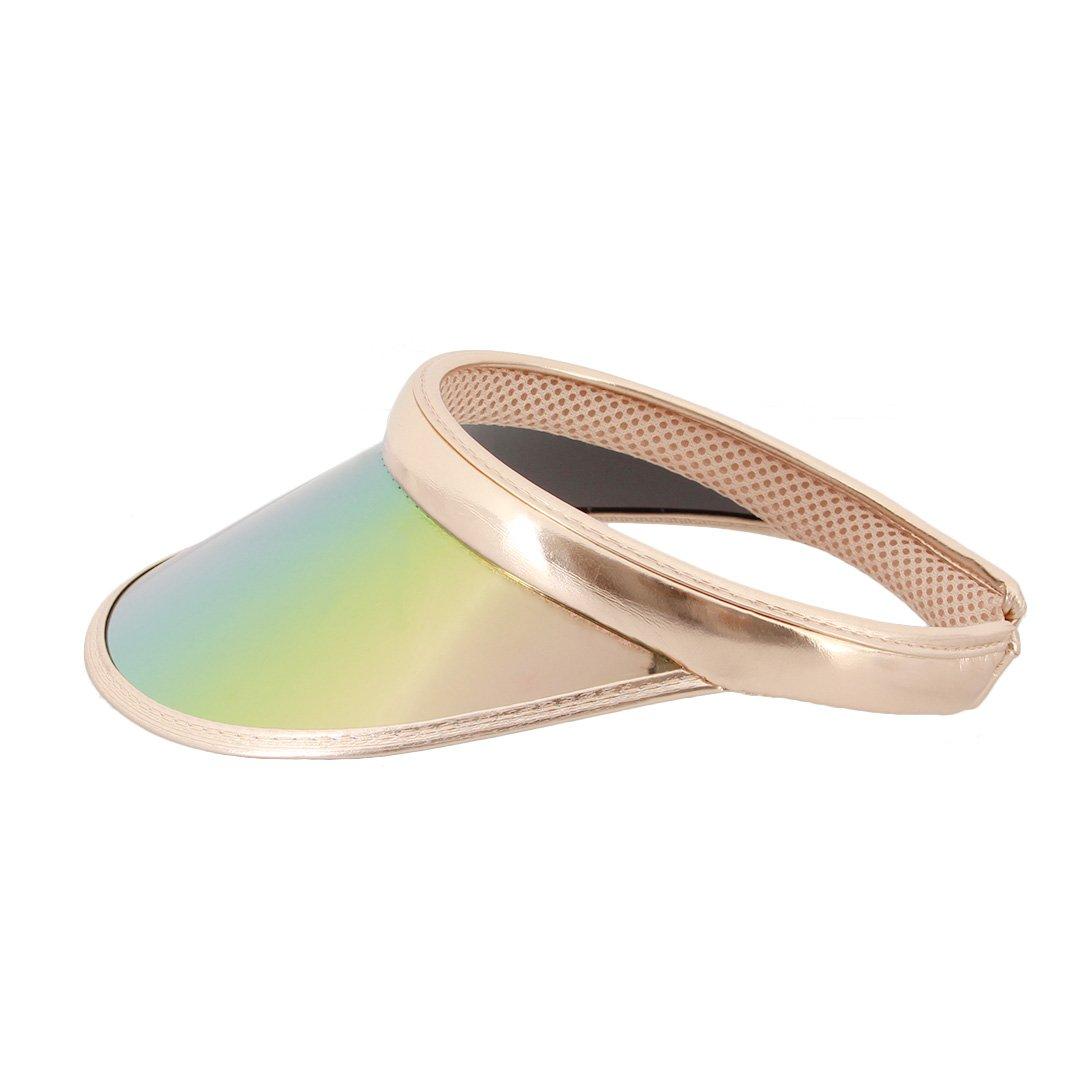 Surkat Women Sun Visors Hologram Wide Brim Thicker Sweatband UV Protective Sportswear Visors Sunhat(Champagne)