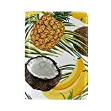 ALAZA Tropical Palm Tree Pineapple Coconut Leather Passport Holder Cover Case Travel One Pocket