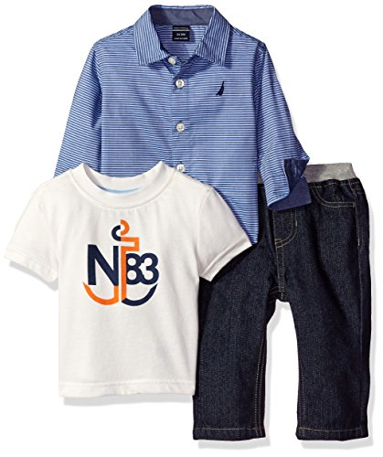 Nautica Boys' Three Piece Set with Long Sleeve Stripe Woven Shirt, Tee and Pant, Medium Blue, 24 Months