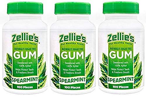 (Zellies Spearmint Gum, 100 Count Jar (Set of 3))
