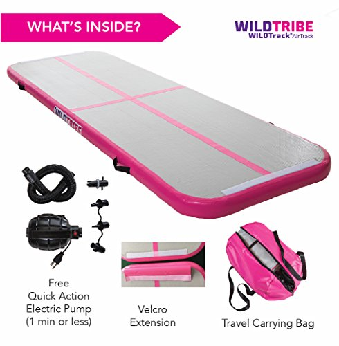 ✅HUGE LAUNCH SALE ✅ Air Track Tumbling Mat – (10′ x 3′ x 4″) – WILDTrack Home and Gym Use – Airtrack gymnastics mat with free fast action electric pump (PINK)