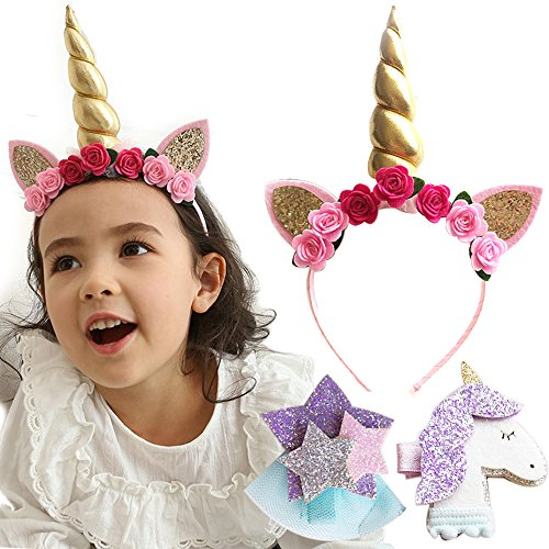 BUTFashion (3Pcs Set) Unicorn Horn Headband with Cat Ears Flowers Gold Glitter Hair Clip Star for Girls Baby Kids Adults Birthday Crown Cosplay Costume Easter (Gold Horn)