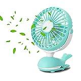 Battery Operated Clip Fan, Mini Personal Desk Fan, Stroller Fan for Baby, Portable Silent USB Fan, Rechargeable Battery Fans, Cute Design Adjustable Tilt Operation for Home, Traveling, Office (Green)
