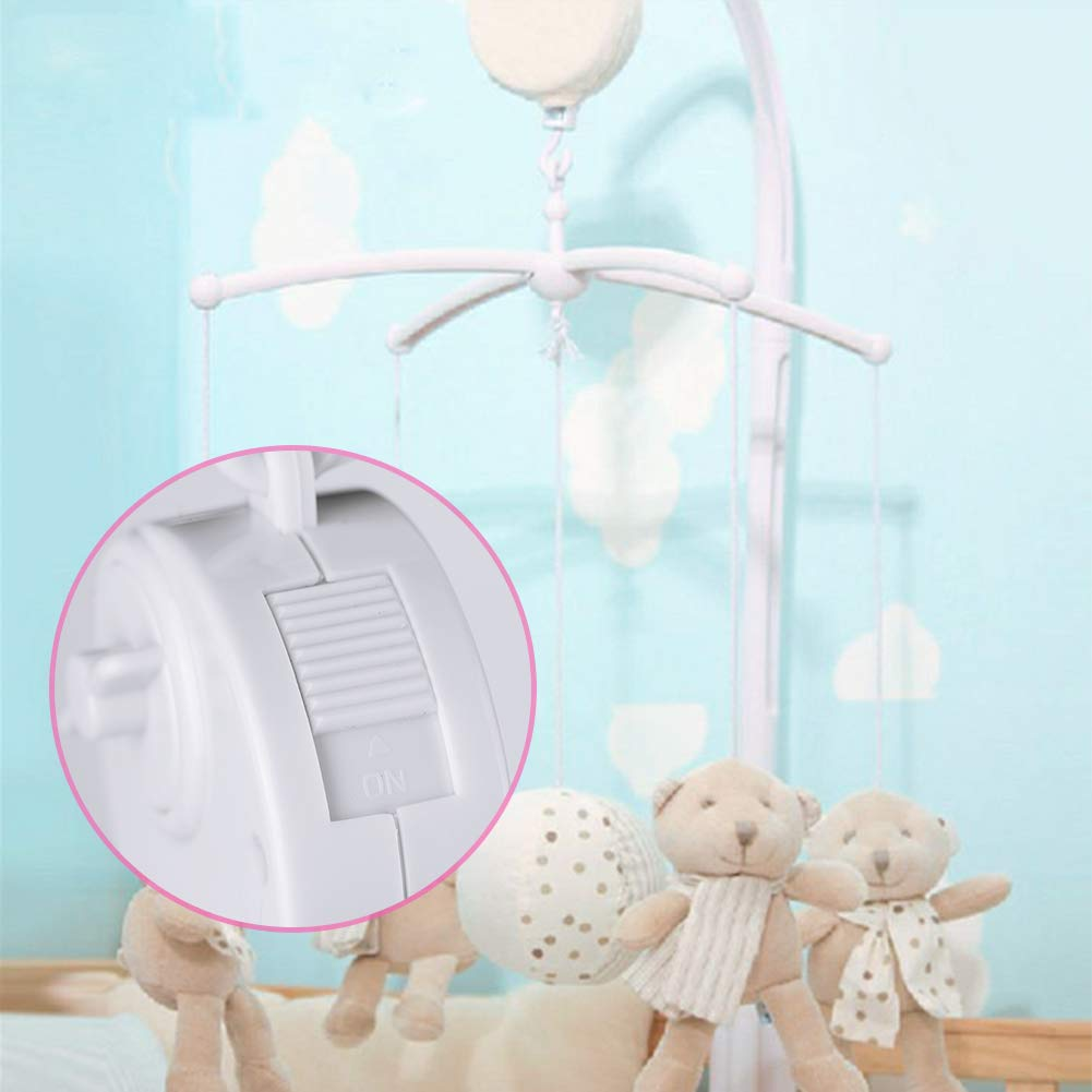 Locisne Baby Bed Holder Crib Cot Mobile Arm with Mechanical Music Box and Extended Holder Bracket Nut Screw Bed Bell Without Toys for Baby Girl /& Boy