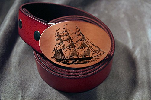 Clipper Ship PIRATE Etched Metal Belt Buckle - Clipper Ship Belt Buckle