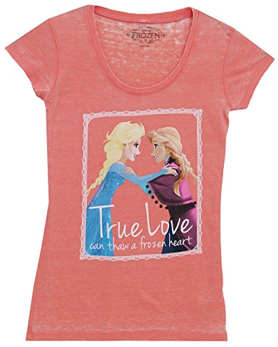 Frozen Anna Elsa True Love Juniors T-shirt (Small, Pink) - True Love Juniors T-shirt