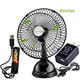 Lucstar Retro Mini Elegant Pedestal Fan On Table Desk with USB Switch Timer and Wall Charger Adapter, Quiet Low Voice Air Circulator for Sleep, Office, Home, Car, PC Cooler DIY, Exquisite Black