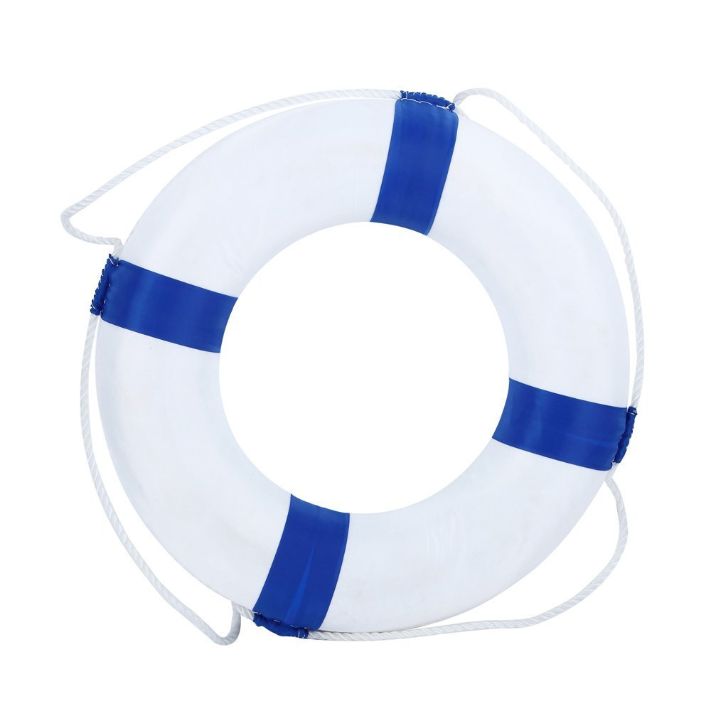 Benwu Leader Enterprise Management Co., Ltd Lifebuoy 52cm/20.5inch diameter Selling Wonderful Welcome Aboard Nautical Lifebuoy Ring Wall Hanging Home Decoration (Blue)