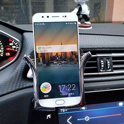 Rui Peng 携帯電話スタンド - U型重力車の電話ホルダーの空気出口マウント携帯電話ホルダー自動耐荷重誘導ナビゲーションブラケット (色 : シルバー しるば゜)