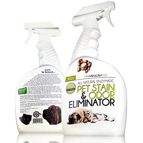 Life Miracle USA Natural Enzyme Cleaner - Safe, Non-Toxic Pet & Laundry Stain Remover, Odor Eliminator Neutralizer | Upholstery Carpet Cleaning & Rug Stain Cleaner | Dog & Cat Urine Smell. 32oz (Pet Laundry)