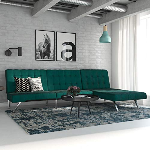 DHP 2264979SET Emily Sofa Bed with Chaise, Green Velvet