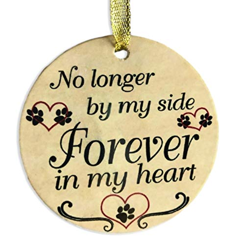 BANBERRY DESIGNS Pet Memorial Ornament - Ceramic Christmas Ornament for The Loss of a Pet - No Longer by My Side Forever in My Heart