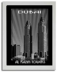 Al Kazim Tower Black And White F03-m (a2) - Framed