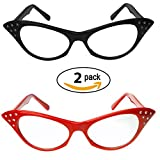 Red & Black Cat Eye Glasses with Rhinestones – 50's 60's Retro Cateye Glasses (2 Pack)