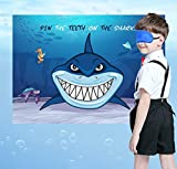 Pin The Teeth on The Shark Game - Kids Sea/Sharknado/Under the Sea/Pool/Beach Birthday Party Supplies Decorations