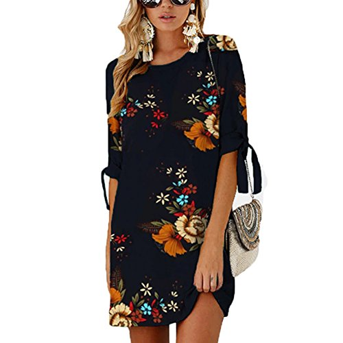 ANRABESS Women Floral Print Self-tie at Sleeves Tunic Shift A Line Shirt Dress Mini Summer Chiffon Casual Dress 3-XL BYF-5 (Shift Dress Print Multi)