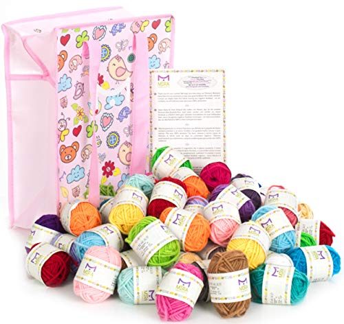 Mira Handcrafts 60 Bonbon Yarn Skeins for Knitting and Crochet - Total of 1312 Yards (1200 m) Acrylic Yarn in Assorted Colors - Stylish Yarn Bag Included - Starter Kit