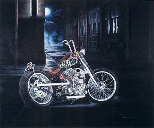 Limited Edition Motorcycle Art Print, Indian Larry Chain of Mystery Bobber, Signed Numbered Wall Art with Certificate - Original Painting by John Guillemette ()