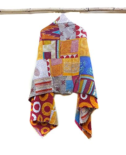 Vintage Cotton Hand Quilted Kantha Hand Work Stoles Reversible Scarves Scarf patchwork
